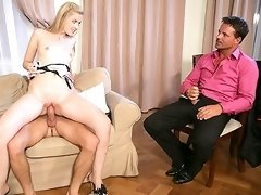 VIDEO !!! Husband beats off watching his dirty blonde wife get nailed by a big stud