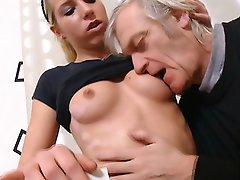 FLASH !!! Nelya is put on the table, her legs spread wide open, and her pussy fucked by her older man's hard cock and she loves his cock in her.